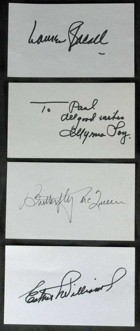 1010: Cards Signed: BACALL, LOY, McQUEEN, WILLIAMS