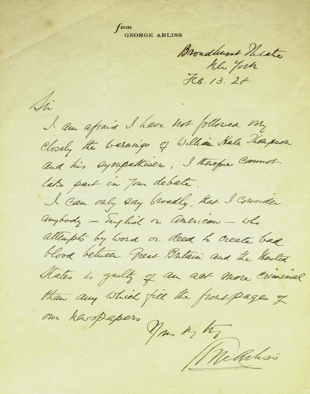 1016: British Actor GEORGE ARLISS - Autograph Ltr Signe
