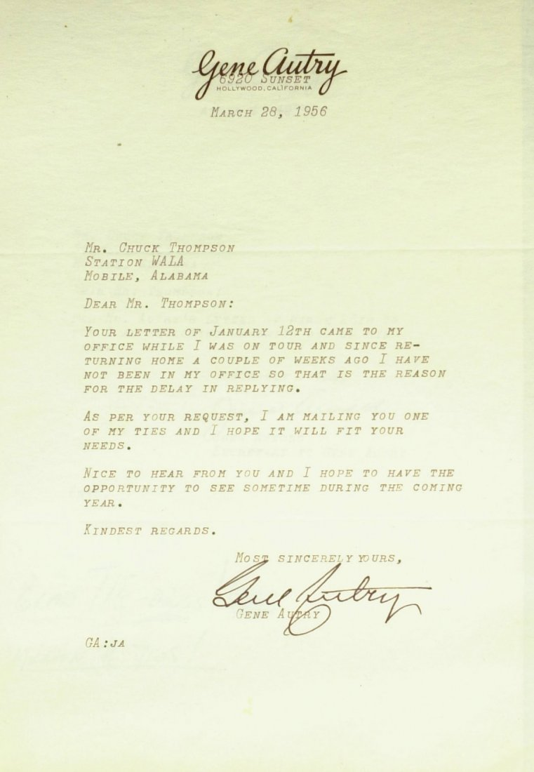 Cowboy Actor GENE AUTRY - Typed Ltr Signed