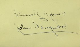 """Greatest Actor"" JOHN BARRYMORE - Card Signed"