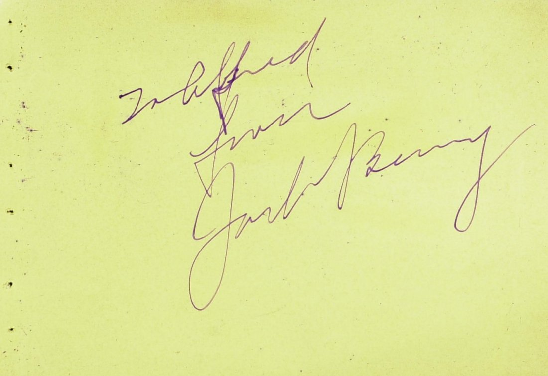 39 Year Old Comic JACK BENNY - Album Page Signed