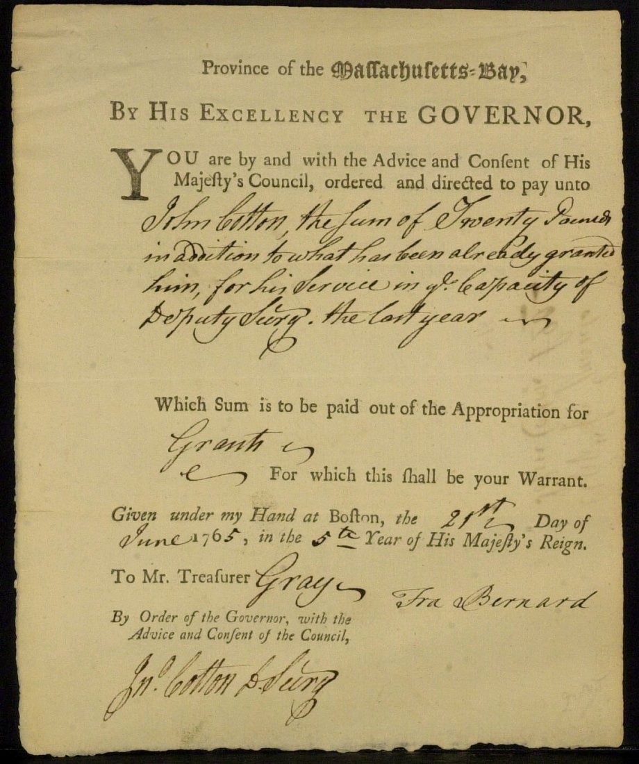 Colonial Governor FRANCIS BERNARD - Doc Signed 1765