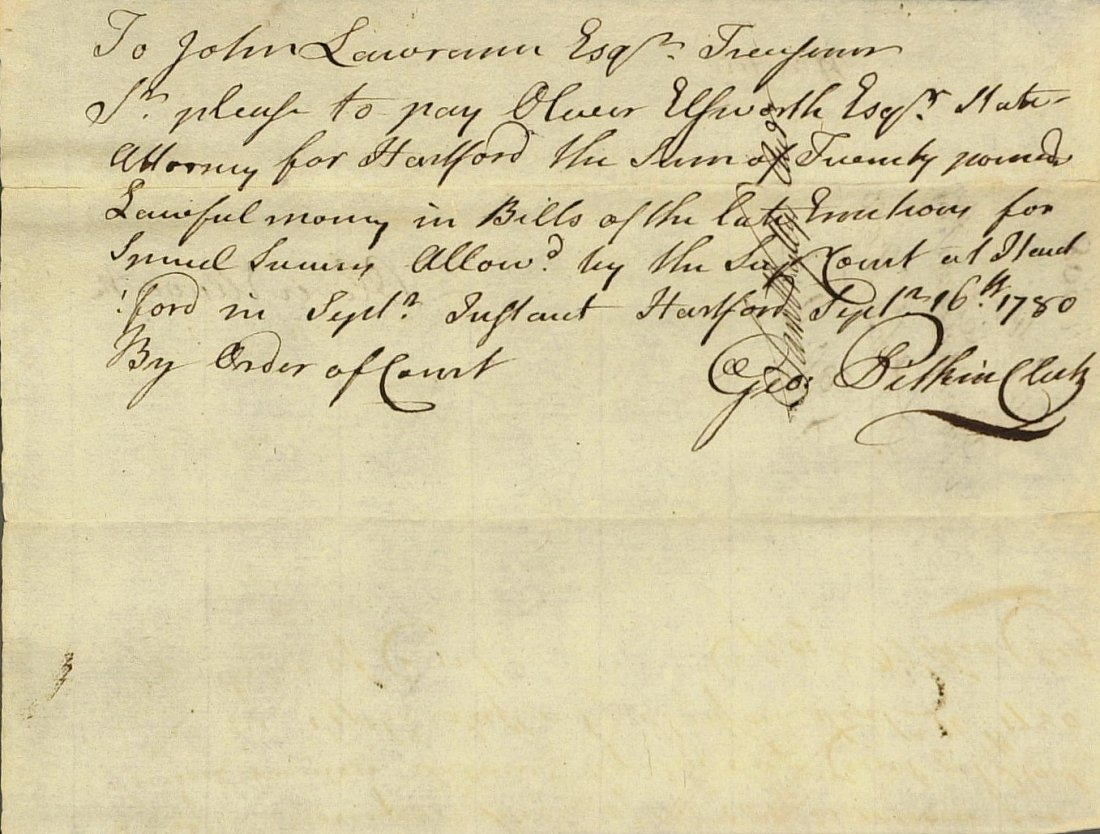 OLIVER ELLSWORTH - Document Signed 1780
