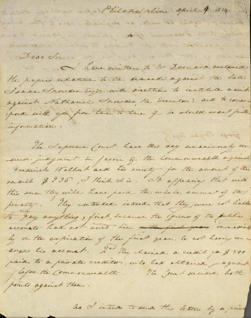 Jurist JARED INGERSOLL - Autograph Ltr Signed 1814