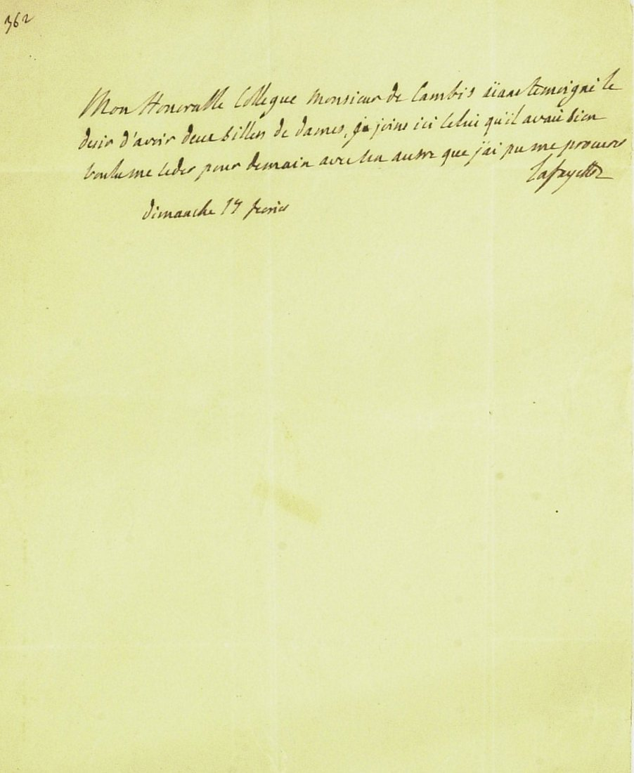 French General LaFAYETTE - Autograph Ltr Signed