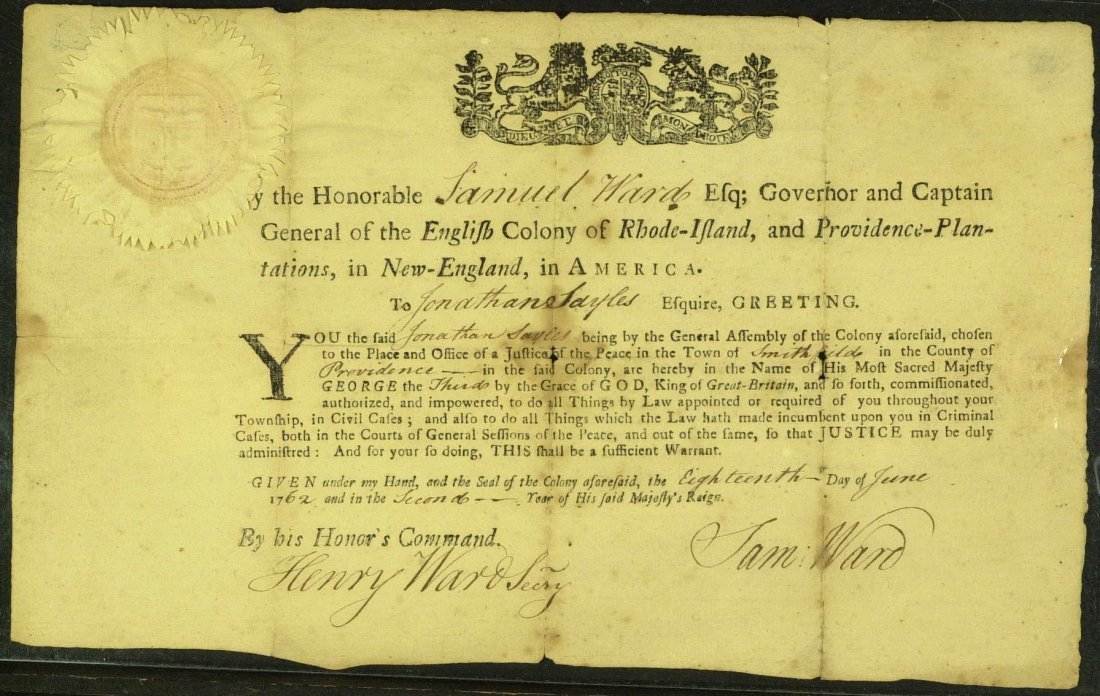 Colonial Governor SAMUEL WARD - Doc Signed 1762
