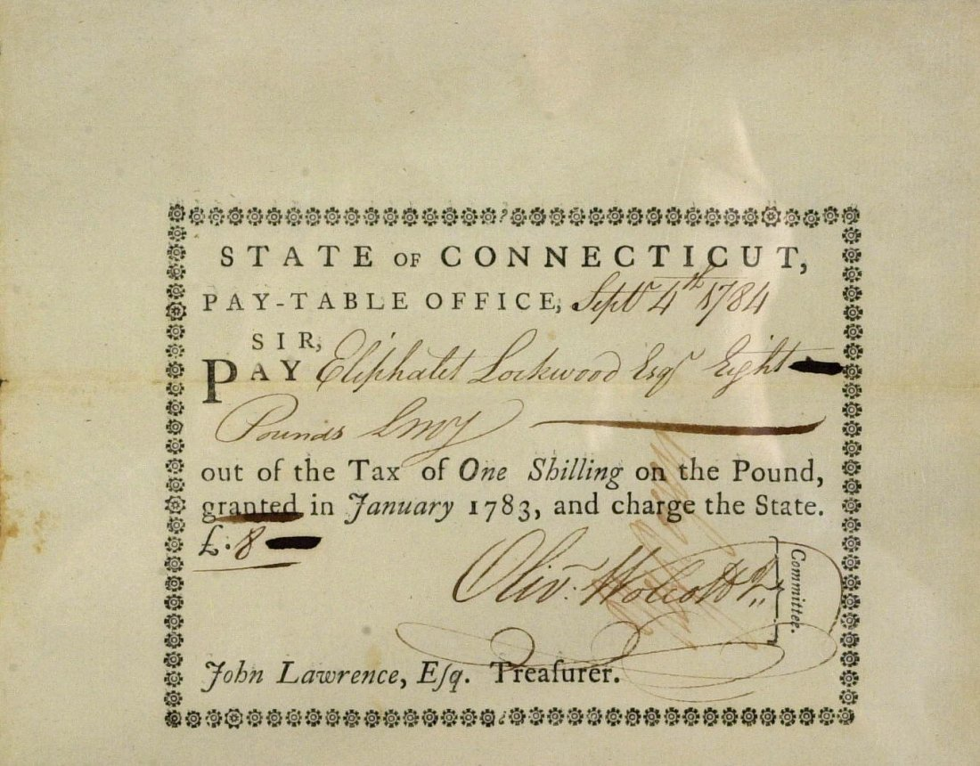 OLIVER WOLCOTT, JR - Pay Order Signed 1784