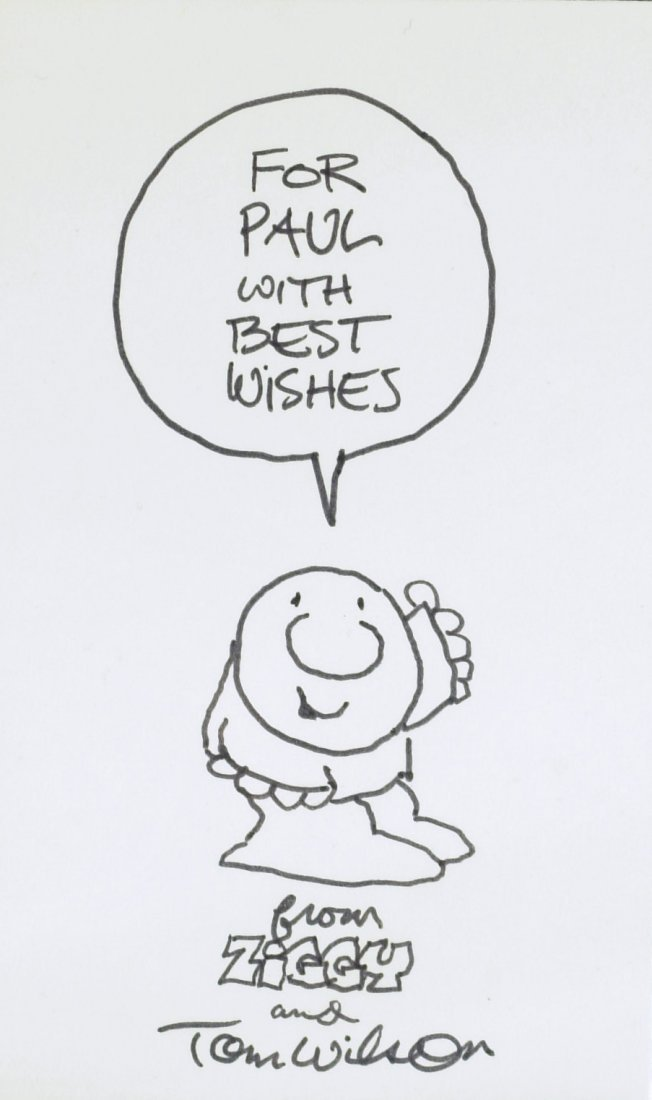 Cartoonist TOM WILSON - Ziggy Sketch Signed