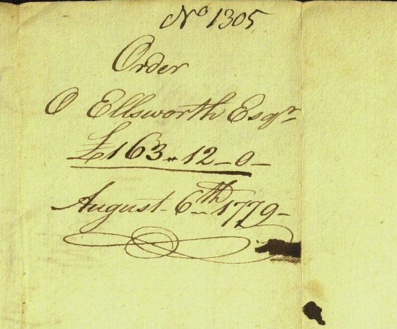 Chief Justice OLIVER ELLSWORTH - 1779 Pay Order