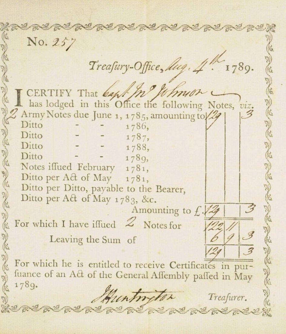 Gen, Patriot JEDEDIAH HUNTINGTON - 1789 Doc Signed