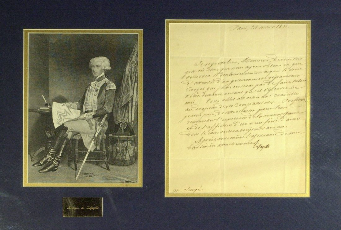 French Gen LaFAYETTE -  Ltr Signed Matted