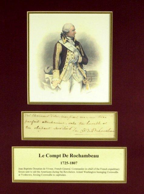 French General DeRochambeau - Matted Signature