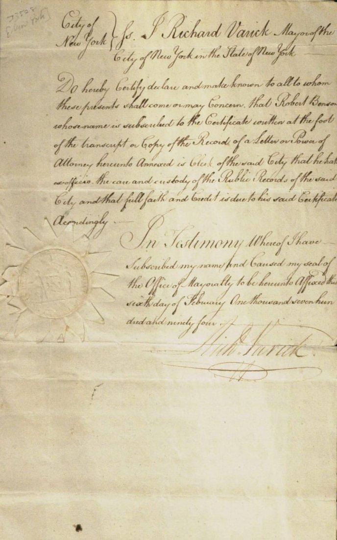 Rev war Officer, NYC Mayor RICHARD VARICK - Doc Signed