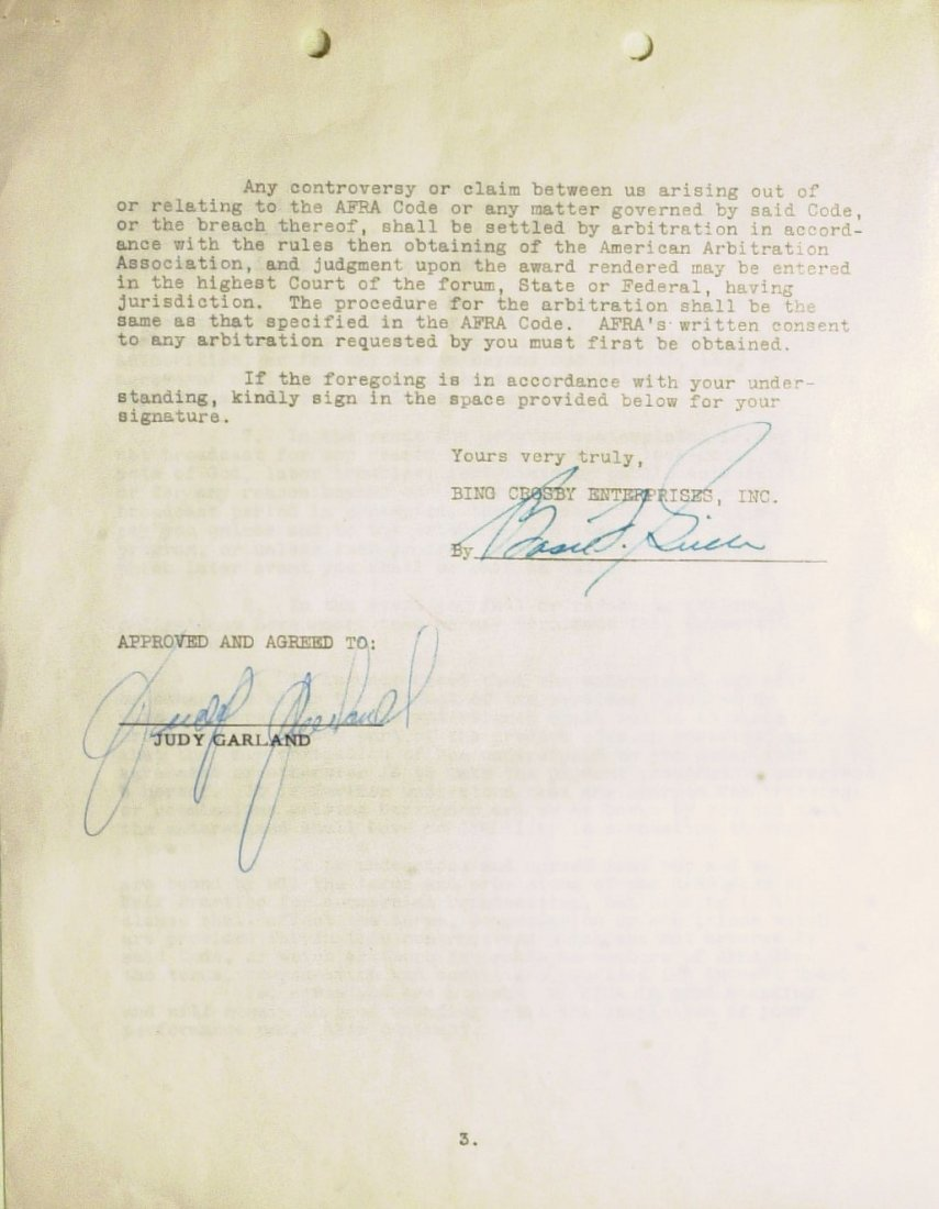 Oz Dorothy JUDY GARLAND - Contract Signed