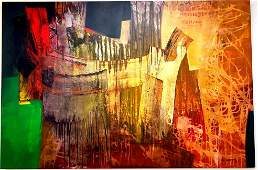 Pedro Avila gendis (Cuban, 1959-)Mixed Media on Canvas.