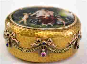 18K  pill box with rubies and blue sapphires with an