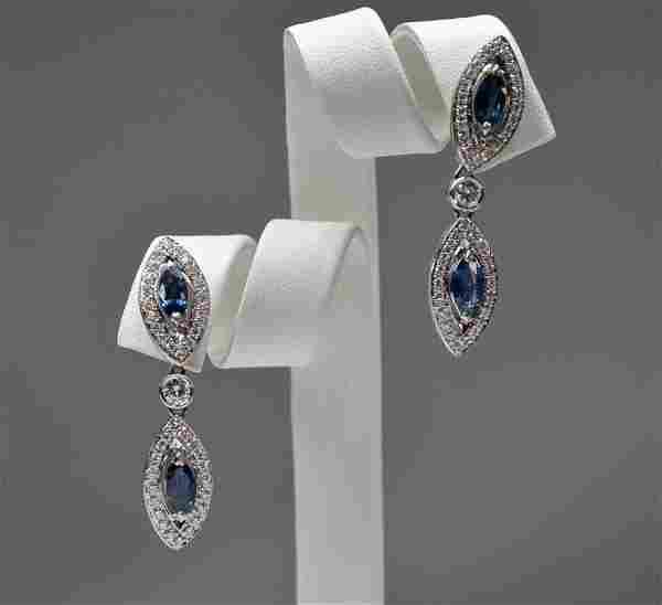 18K 2 marquis sapphire and 2 dia dangle earrings