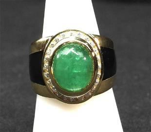 18K yg cabochon Emerald diamonds and black enamel