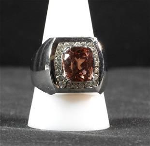 14K wg rectangular cut Pink Tourmaline Diamond