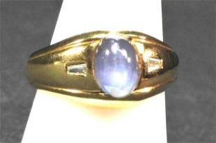 18K yg mans star sapphire diamond ring