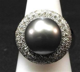 18K wg Tahitian pearl and pave dia ring