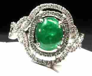14K wg cabochon Emerald with 2 rows of diamonds around