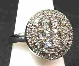 14K wg round top diamond ring