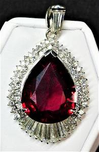 Platinum Rubelite (14.8 cts) and diamond (2.8 cts)