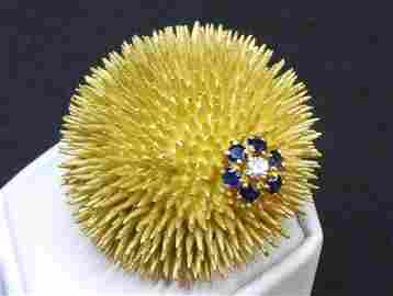 18K yg sea urchin by Tiffany w/sapphire and diamonds