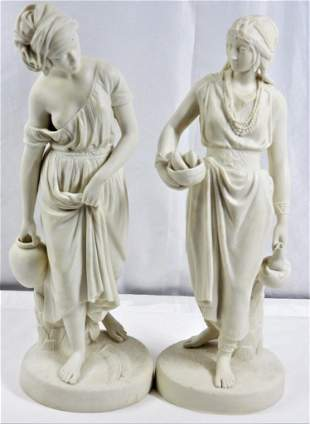 Pair of Copeland bisque statues two women signed