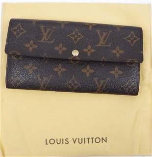 Louis Vuitton brown clutch monogram canvas and leather