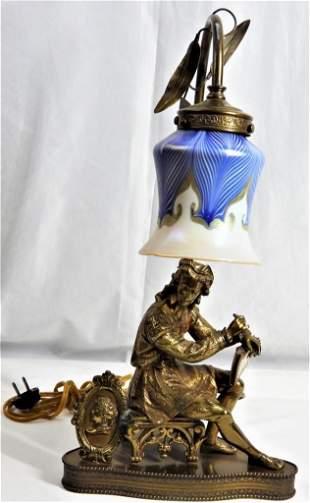 Bronze and metal lamp Art Nouveau