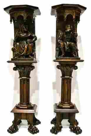 Antique Carved Solid Wood Figure Pedestals