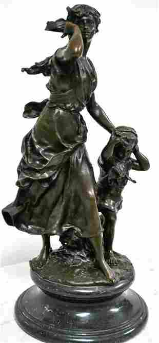 """Art Nouveau Style Bronze """"Mother And Child"""""""
