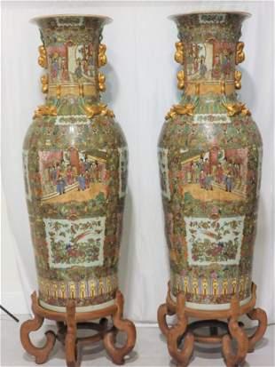 "Pair of Chinese Rose Medallion Palace Vase, 56 "" H."