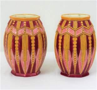 Longwy - Paire de vases Art Deco en emaux cloisonnes