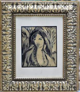 Victor MANUEL (1897-1969)Charcoal on paper Framed