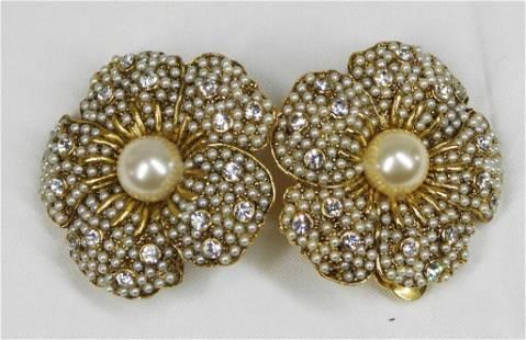 Rhinestone and Faux Pearl Earrings flowers