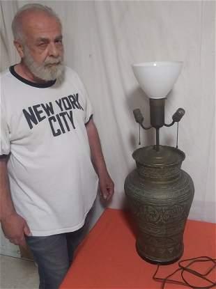 Circa 1900 chased brass crimped rim lamp
