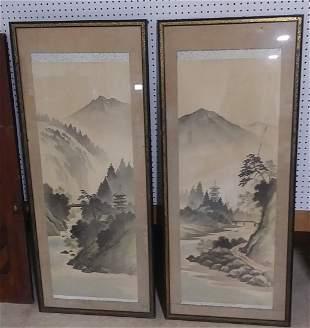 Pair of large oriental watercolors artist signed