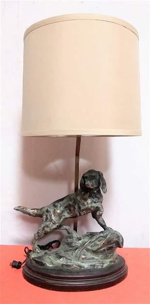 Bronze Pointer Hunting Dog Lamp