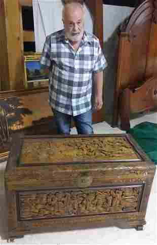 Oriental Relief Carved storage Trunk