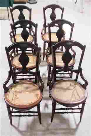 Set of 6 walnut Victorian dining room chairs