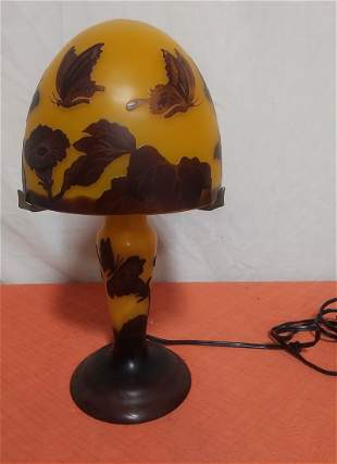 Cameo glass accent light signed Galle