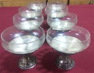 set of 8 sterling silver desserts with Crystal inserts