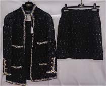 2 piece Black Multi colored Chanel Suit skirt Size 42