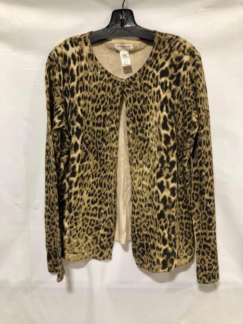 Jones New York animal print button-up sweater size L