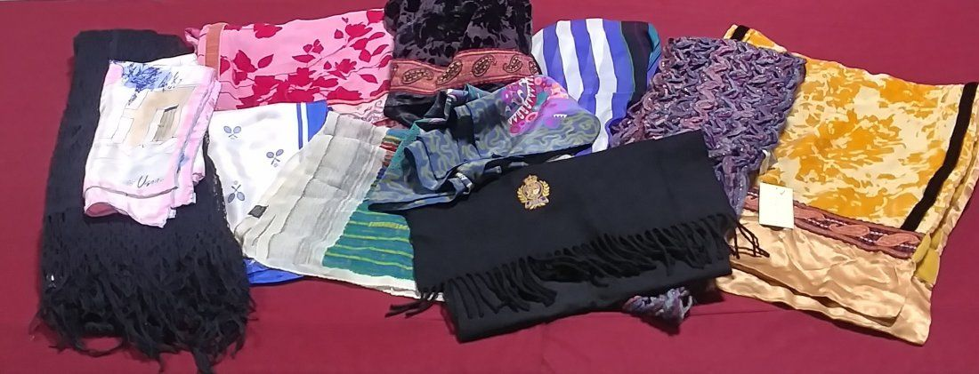 11 assorted scarves mostly new