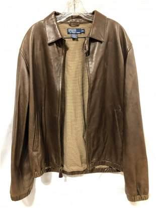 Polo Ralph Lauren brown leather medium jacket