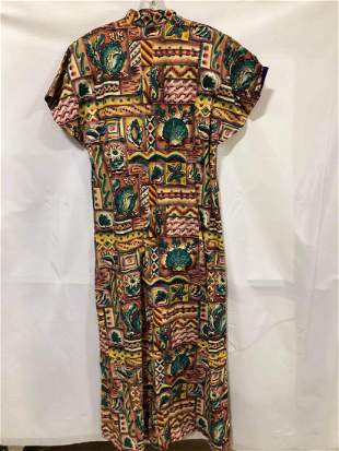 Oriental inspired seashell dress colorful